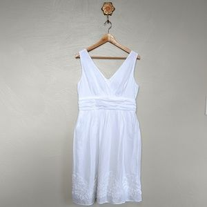 Connected white fit & flare sleeveless summe dress